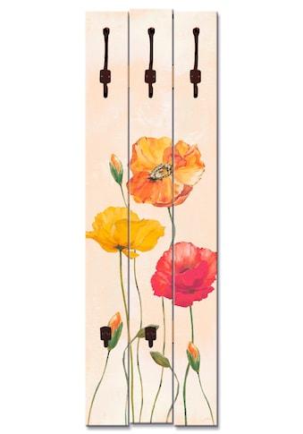 Artland Garderobenpaneel »Bunte Mohnblumen«, platzsparende Wandgarderobe aus Holz mit... kaufen