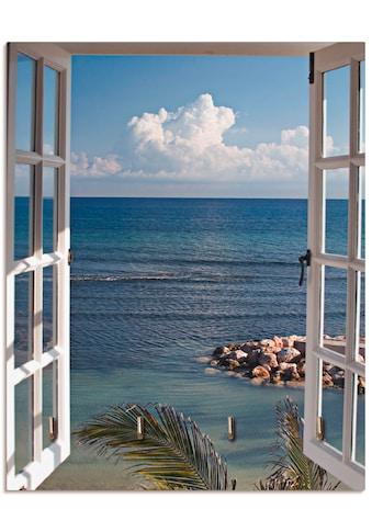 Artland Schlüsselbrett »Fenster zum Paradies«, aus Holz mit 4 Schlüsselhaken –... kaufen