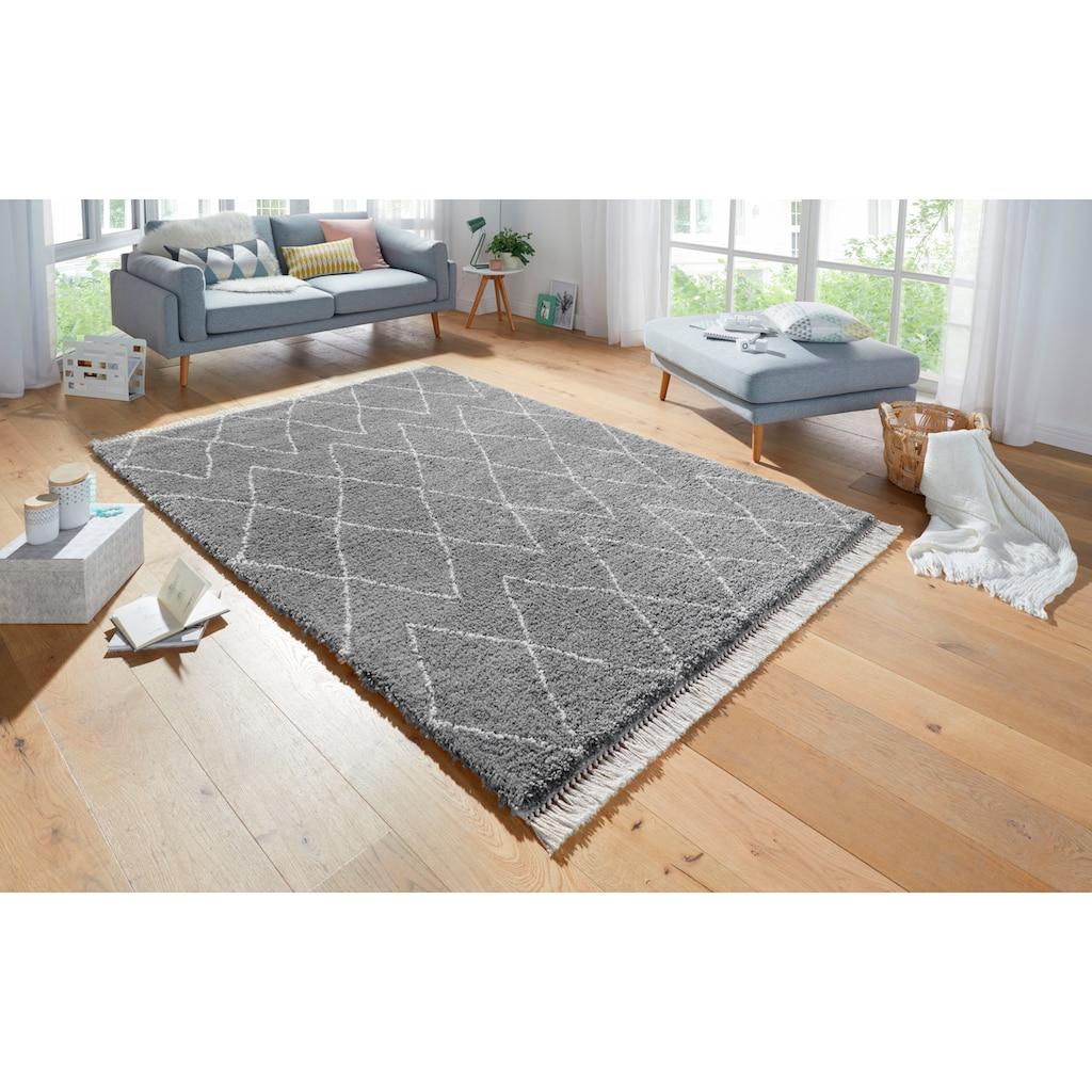 MINT RUGS Hochflor-Teppich »Jade«, rechteckig, 35 mm Höhe, pastell Farben mit Fransen, Rauten Design, Wohnzimmer
