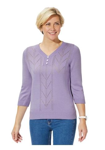 Classic Basics Pullover mit optisch vorteilhaft streckendem Ajour - Muster kaufen