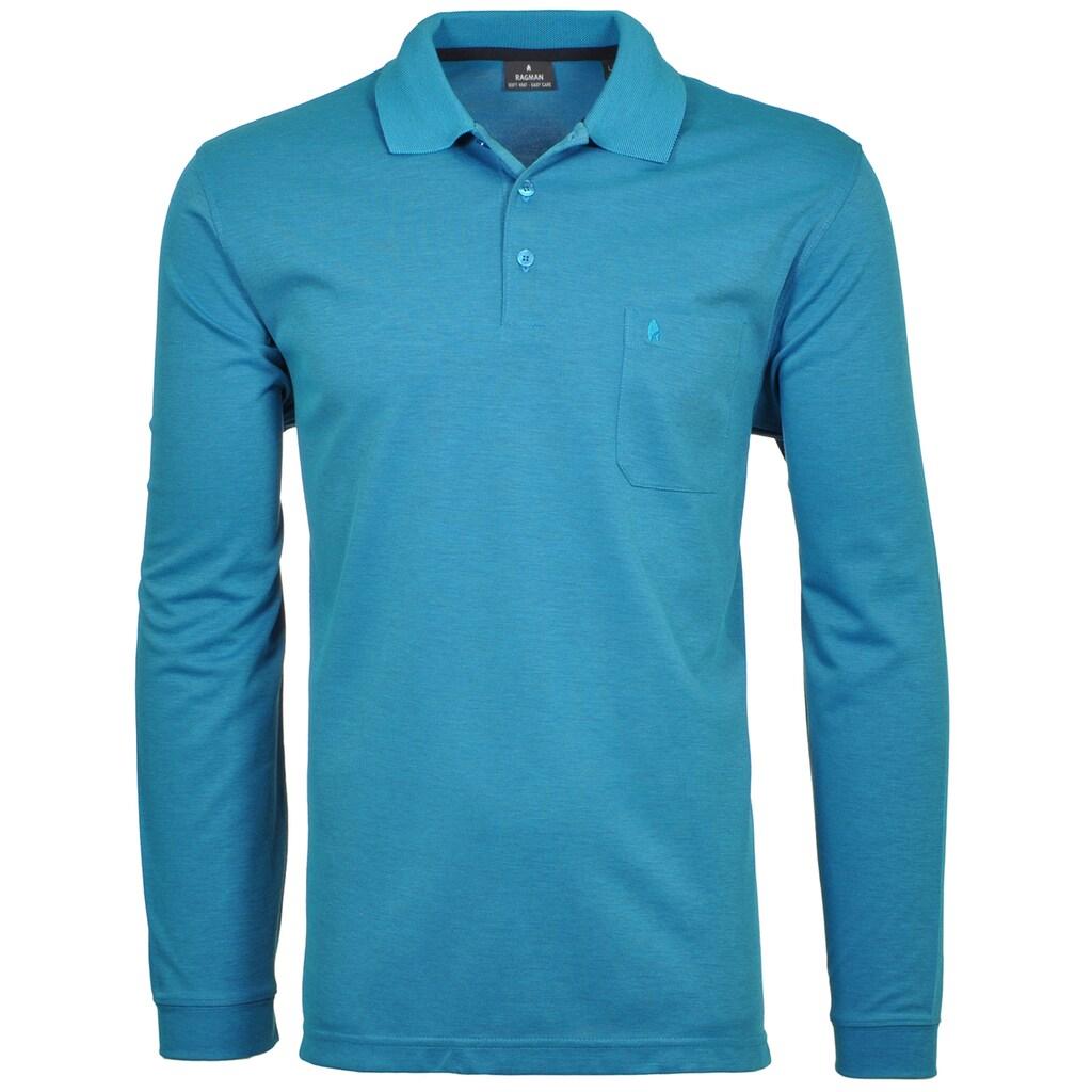 RAGMAN Langarm-Poloshirt