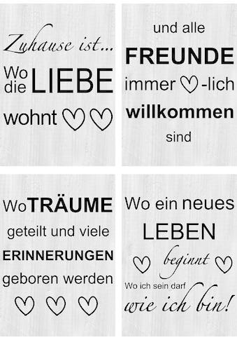 Artland Poster »Wo die Liebe wohnt 1-4«, Sprüche & Texte, (4 St.), Poster, Wandbild,... kaufen