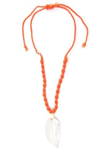J.Jayz Kette mit Anhänger »Blatt, gekordelt, orange«, mit Muschel und Holzperle kaufen