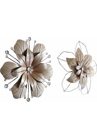 Home affaire Wanddekoobjekt »Blume«, Wanddeko, aus Metall, mit Perlmutt Verzierung kaufen