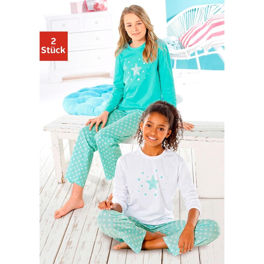 petite fleur Pyjama, in langer Form mit Sternen Print