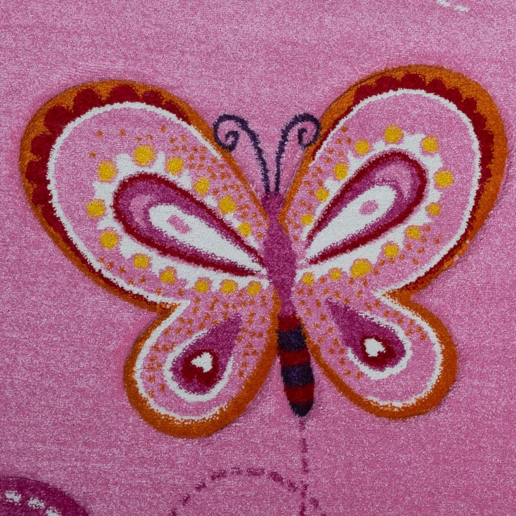 Paco Home Kinderteppich »Diamond 642«, rechteckig, 18 mm Höhe, Kurzflor, 3D-Kinder Schmetterling Herzen Design