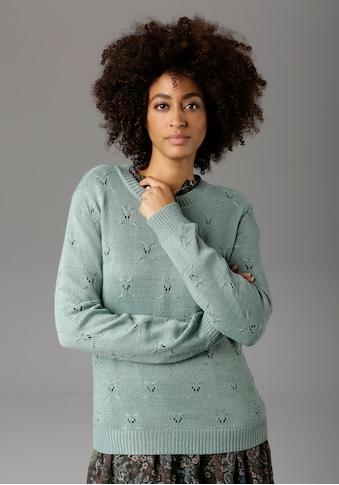 Aniston CASUAL Rundhalspullover, mit Ajourstrickmuster - NEUE KOLLEKTION kaufen