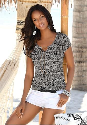 LASCANA T-Shirt, mit Bändern in Lederoptik kaufen