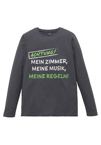 Arizona Langarmshirt »ACHTUNG! MEIN ZIMMER,MEINE MUSIK....« kaufen