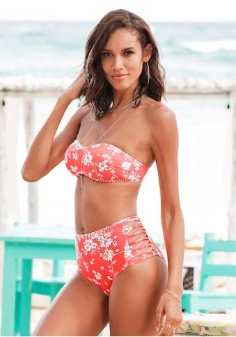 Sunseeker Highwaist-Bikini-Hose »Ditsy«, mit Häkelkante und seitlichen Zierbändern kaufen