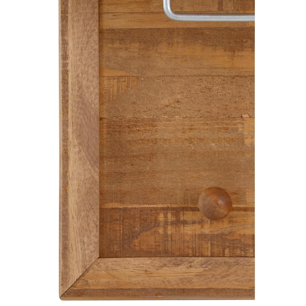 Home affaire Garderobenpaneel »Auckland«, mit 1 Metallstange und 5 Haken, aus Massivholz, Breite 60 cm