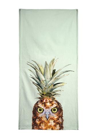 Juniqe Strandtuch »Pineapple Owl«, (1 St.), Weiche Frottee-Veloursqualität kaufen