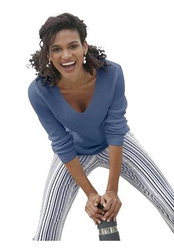 Casual Looks Pullover in dezenter Ripp - Optik kaufen