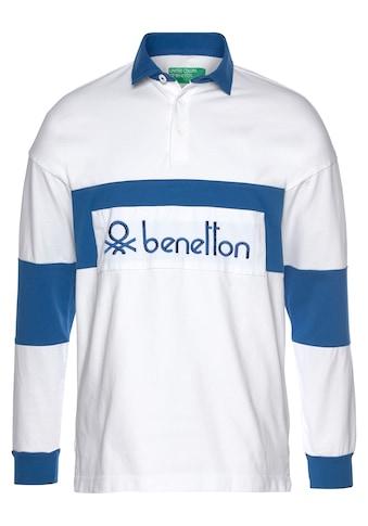 United Colors of Benetton Langarm-Poloshirt, mit grossem Logo kaufen