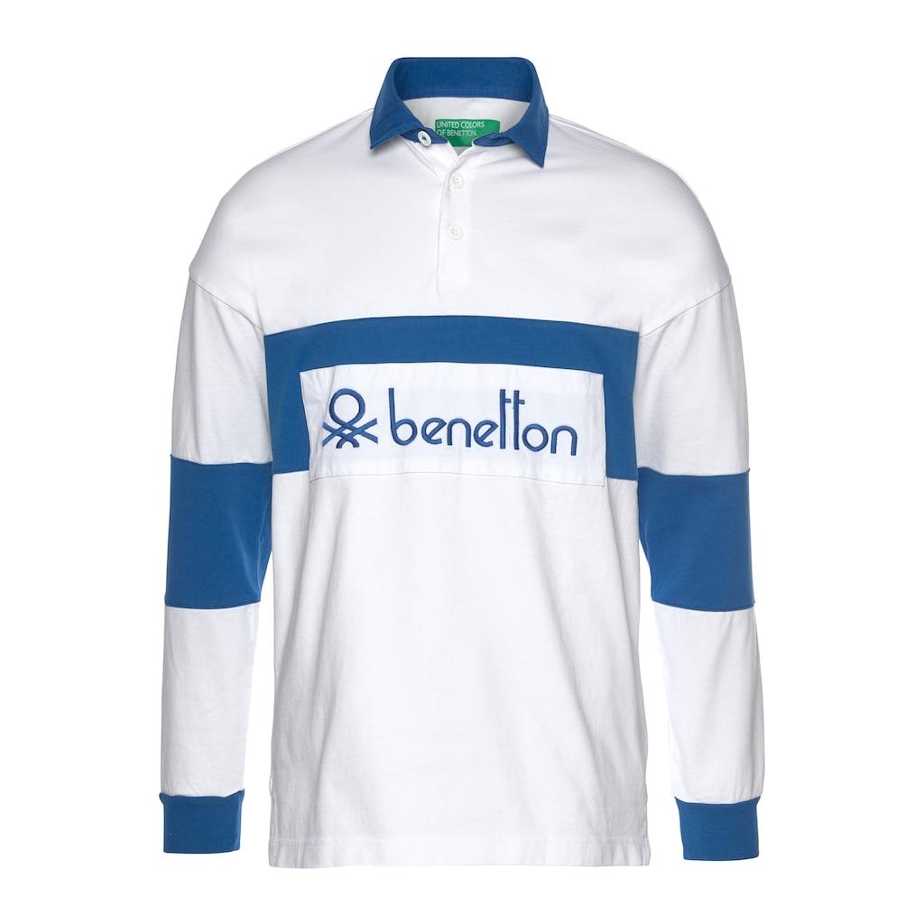 United Colors of Benetton Langarm-Poloshirt, mit grossem Logo