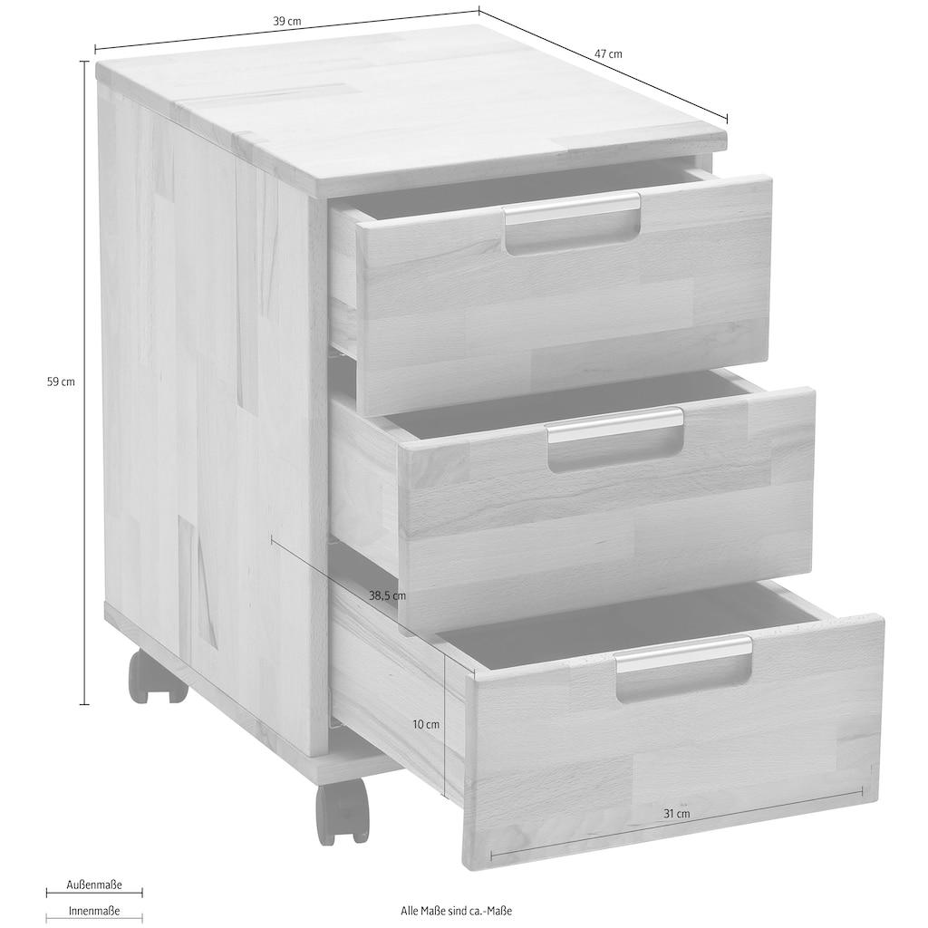 MCA furniture Rollcontainer »Masimo«, Massivholz Kernbuche geölt und gewachst, vormontiert