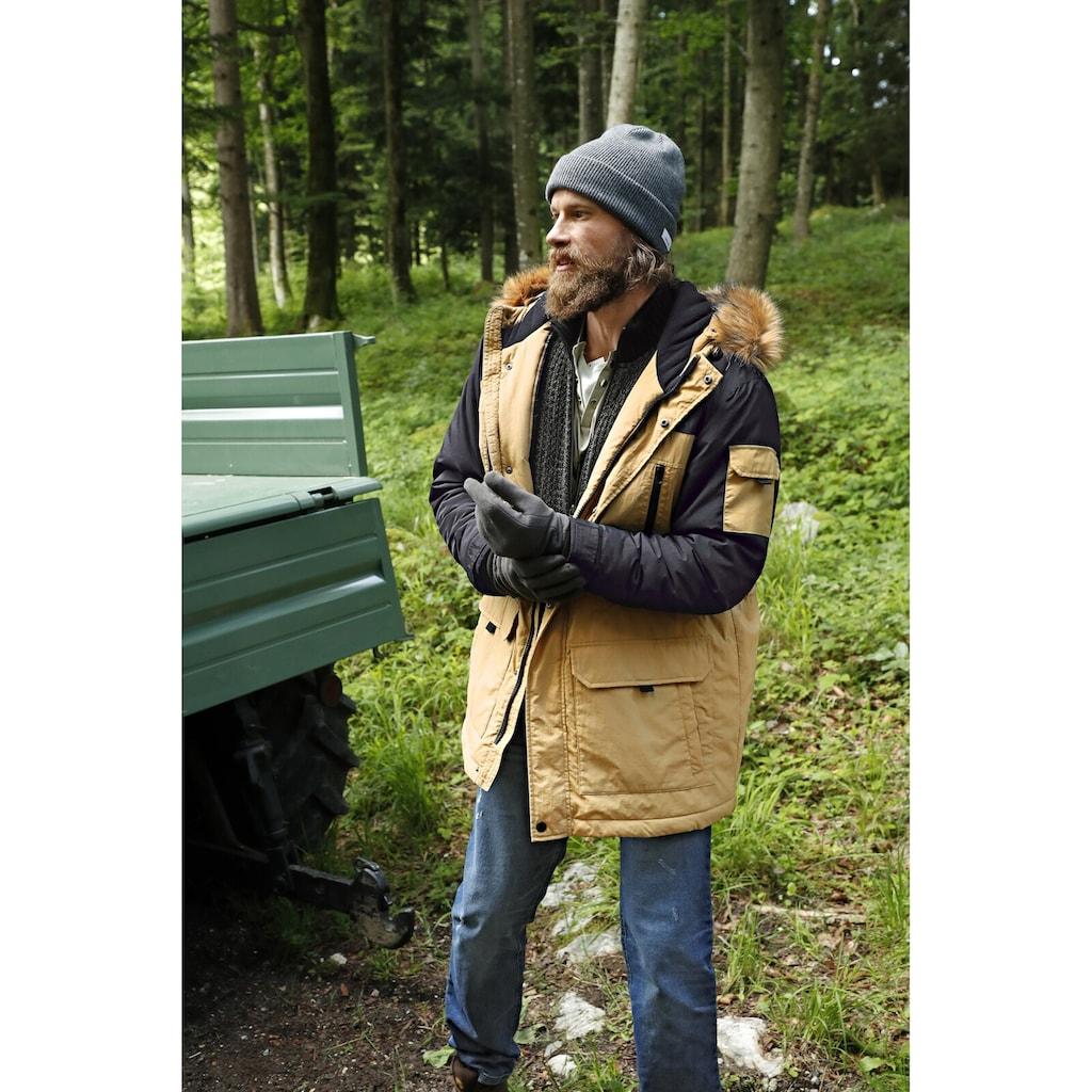 Jan Vanderstorm Outdoorjacke »JOKUM«, Kapuze mit Fellimitatbesatz