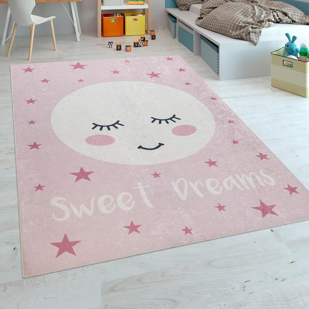 Paco Home Kinderteppich »Aleyna 103«, rechteckig, 6 mm Höhe, Kinder Design, niedliches Mond Motiv mit Print
