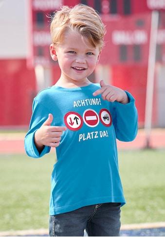 Arizona Langarmshirt »ACHTUNG! PLATZ DA!«, mit beweglichen Applikationen kaufen