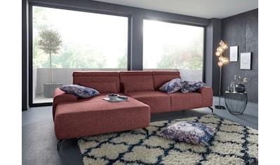 sit&more Ecksofa, Fusshöhe 12 cm, inklusive Sitztiefenverstellung und Kopfteilverstellung, wahlweise in 2 unterschiedlichen Fussfarben kaufen