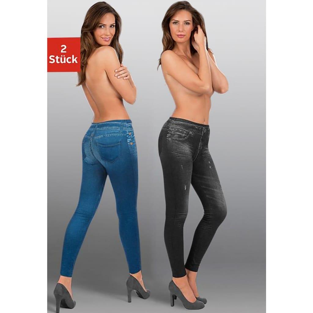 Leggings, (2er-Pack), mit aufgedruckter Jeansoptik