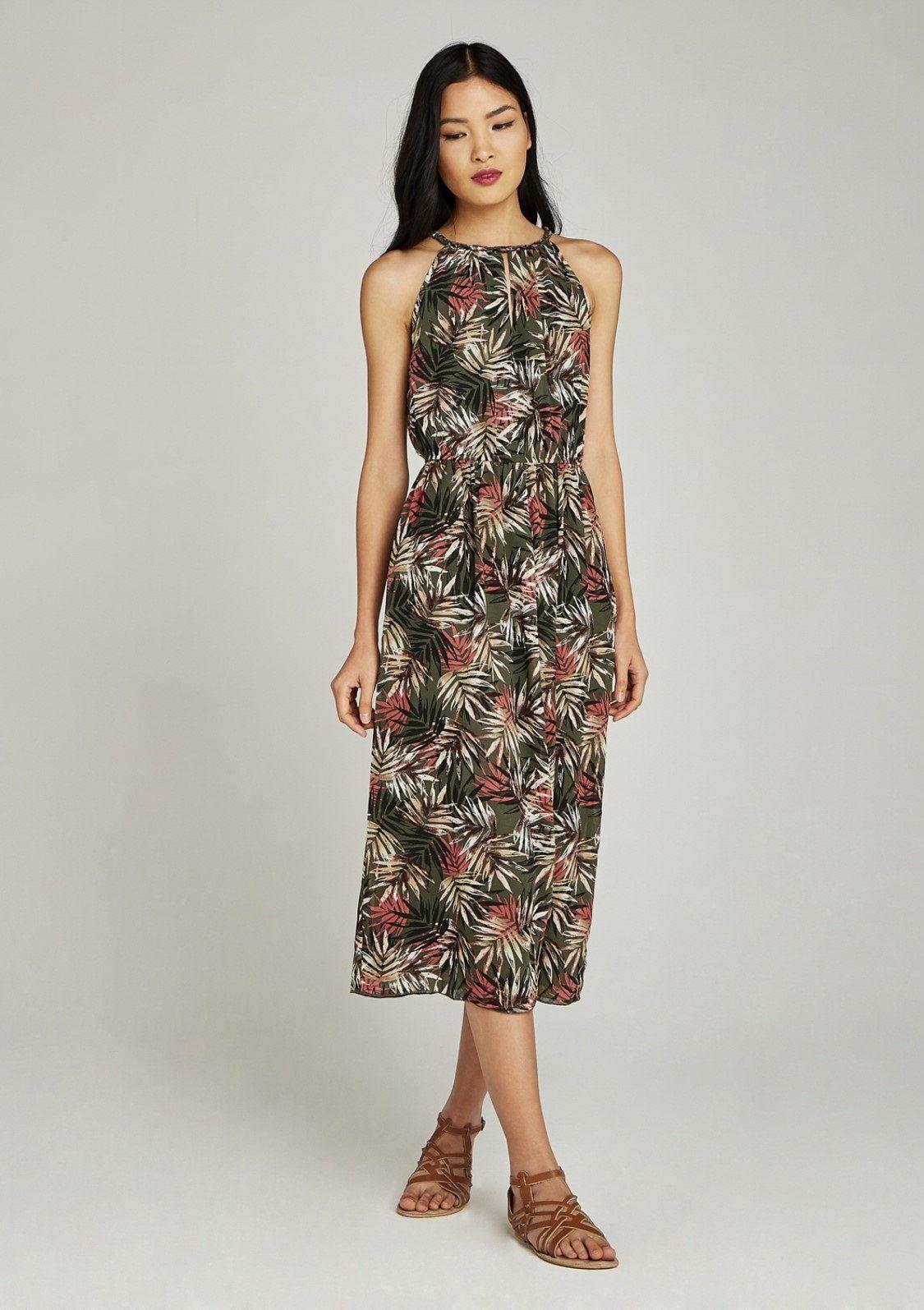 Image of Apricot Chiffonkleid »Tropical Palm Tie Neck Midi Dress«