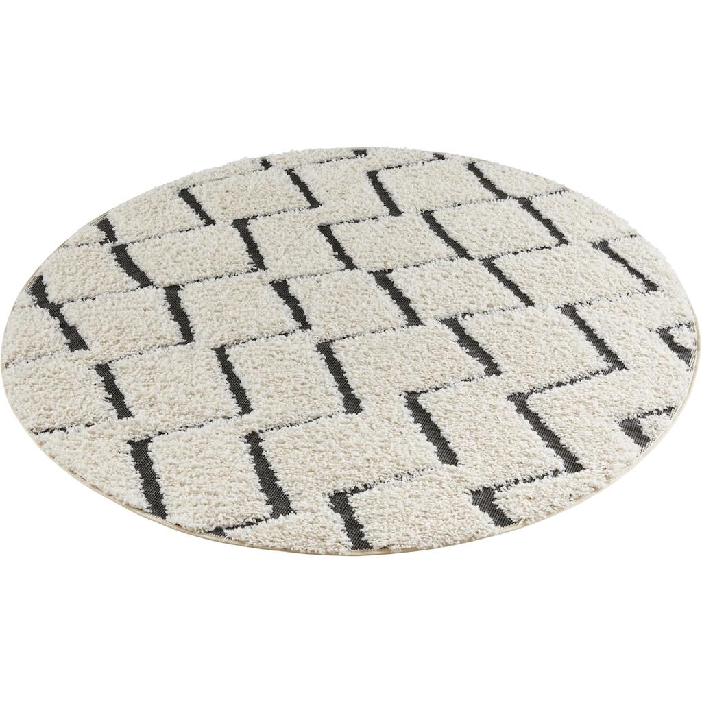 MINT RUGS Teppich »Dades«, rund, 22 mm Höhe, Hoch-Tief-Struktur, Wohnzimmer