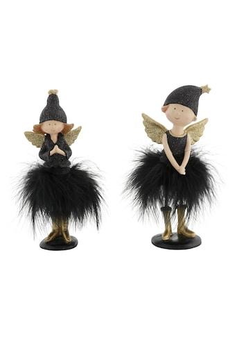 Leonique Engelfigur, mit Mütze und Kunstfederrock, beglimmert, 19 cm und 21 cm kaufen