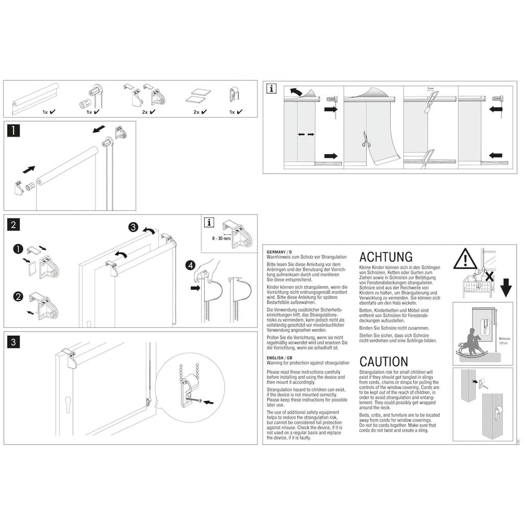 GARDINIA Seitenzugrollo »EASYFIX Rollo Dekor Sukkulente«, Lichtschutz, ohne Bohren