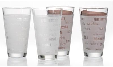 Ritzenhoff & Breker Latte-Macchiato-Glas »Chicco«, (Set, 4 tlg., (4 Becher)), Schrift-Dekor kaufen