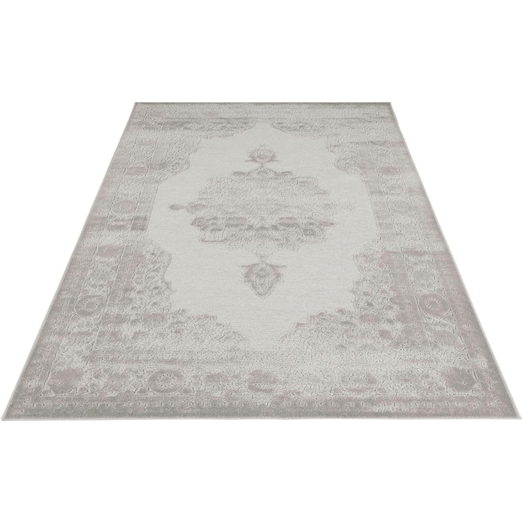 MINT RUGS Teppich »Willow«, rechteckig, 4 mm Höhe, Viskose Glanz, Hoch-Tief Struktur, Wohnzimmer