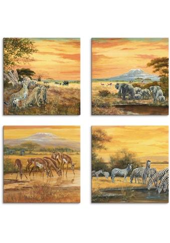 Artland Leinwandbild »Geparden Elefanten Zebras in der Steppe« kaufen