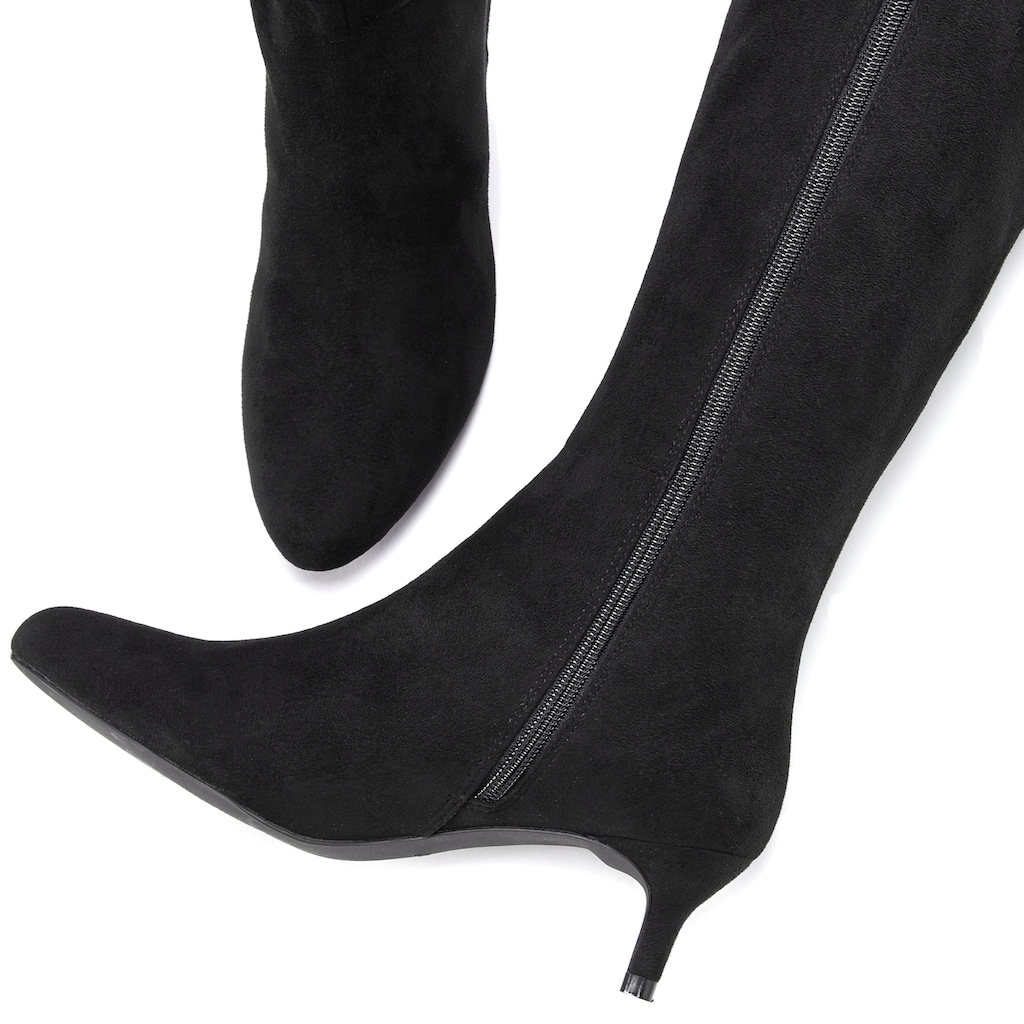 LASCANA Stiefel, mit Langschaft aus softem Velourslederimitat