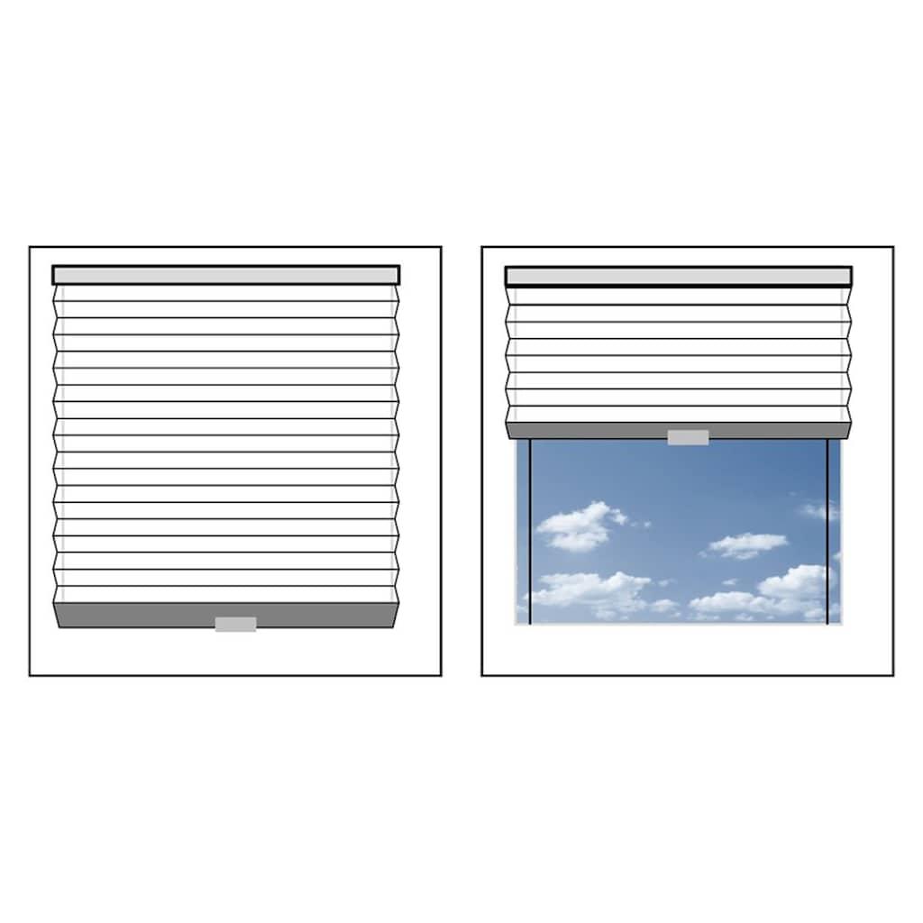 Good Life Dachfensterplissee nach Mass »Dena Crushed«, Lichtschutz, mit Bohren, verspannt, Crushed-Optik, Schienenfarbe in weiss