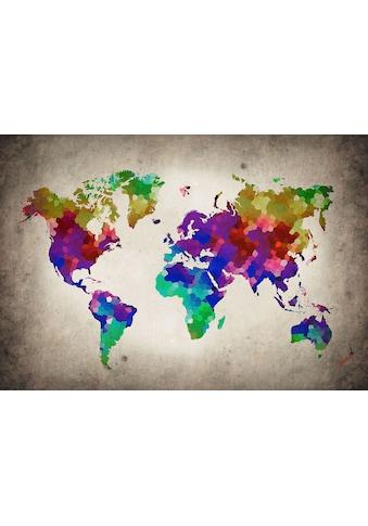 CONSALNET Vliestapete »Bunte Weltkarte«, verschiedene Motivgrössen, für das Büro oder Wohnzimmer kaufen