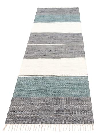 Lüttenhütt Läufer »Paula«, rechteckig, 5 mm Höhe, handgewebt, beidseitig verwendbar, mit Fransen kaufen