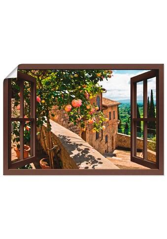 Artland Wandbild »Fensterblick Rosen auf Balkon Toskana«, Garten, (1 St.), in vielen Grössen & Produktarten - Alubild / Outdoorbild für den Aussenbereich, Leinwandbild, Poster, Wandaufkleber / Wandtattoo auch für Badezimmer geeignet kaufen