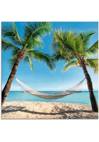 Artland Glasbild »Palmenstrand Karibik mit Hängematte«, Amerika, (1 St.) kaufen