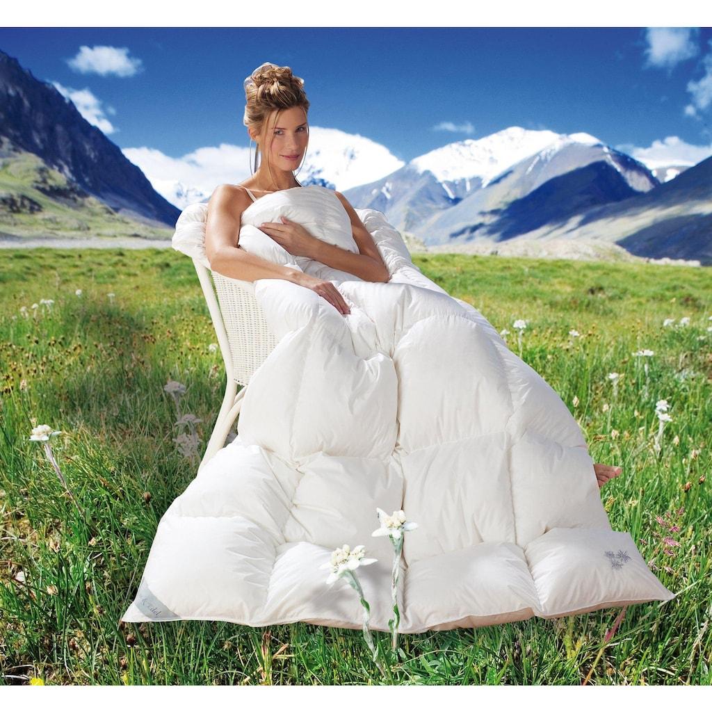 Balette Daunenbettdecke »Weiss & Edel«, Füllung reine Entendaunen 60%, Bezug 100% Baumwolle, (1 St.), Mit Edelweiss Stickerei
