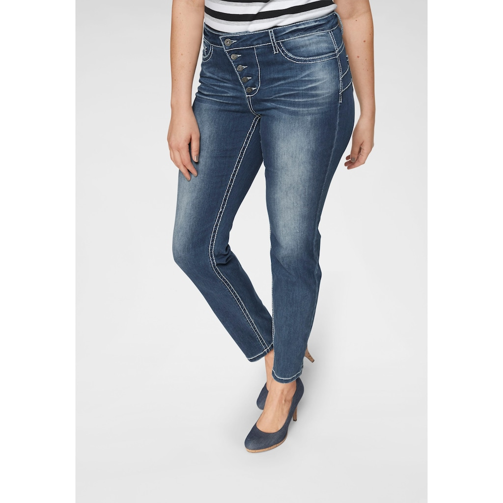 Arizona Slim-fit-Jeans »Heavy Washed - Shaping«, Mid Waist