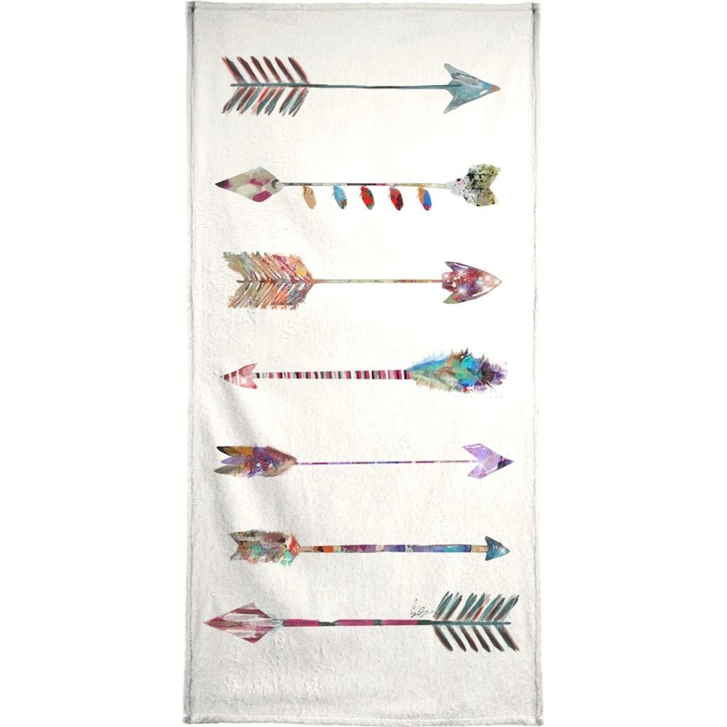 Juniqe Handtuch »Seven Arrows«, (1 St.), Weiche Frottee-Veloursqualität