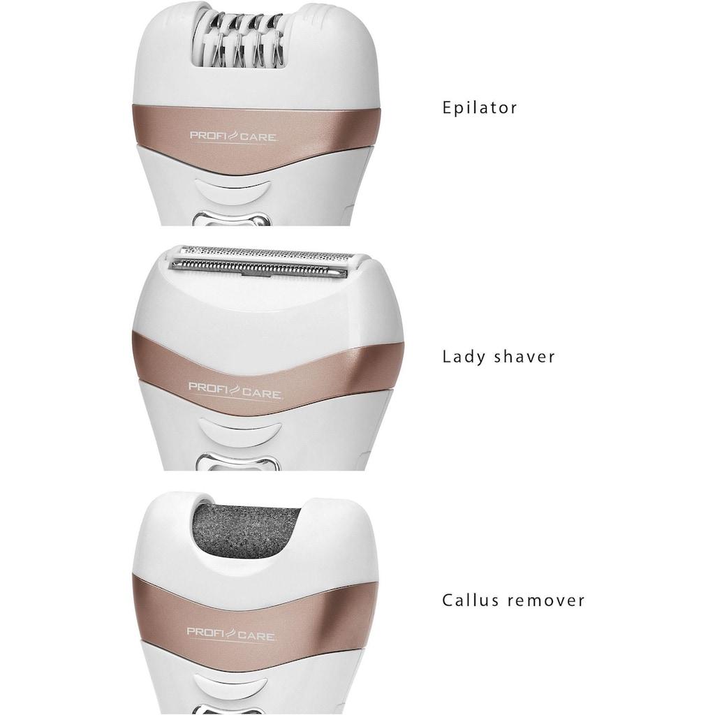 ProfiCare Elektrorasierer »Lady Beauty Set PC-LBS 3002«, 3 St. Aufsätze, Lady Shaver und Hornhautentferner in Einem