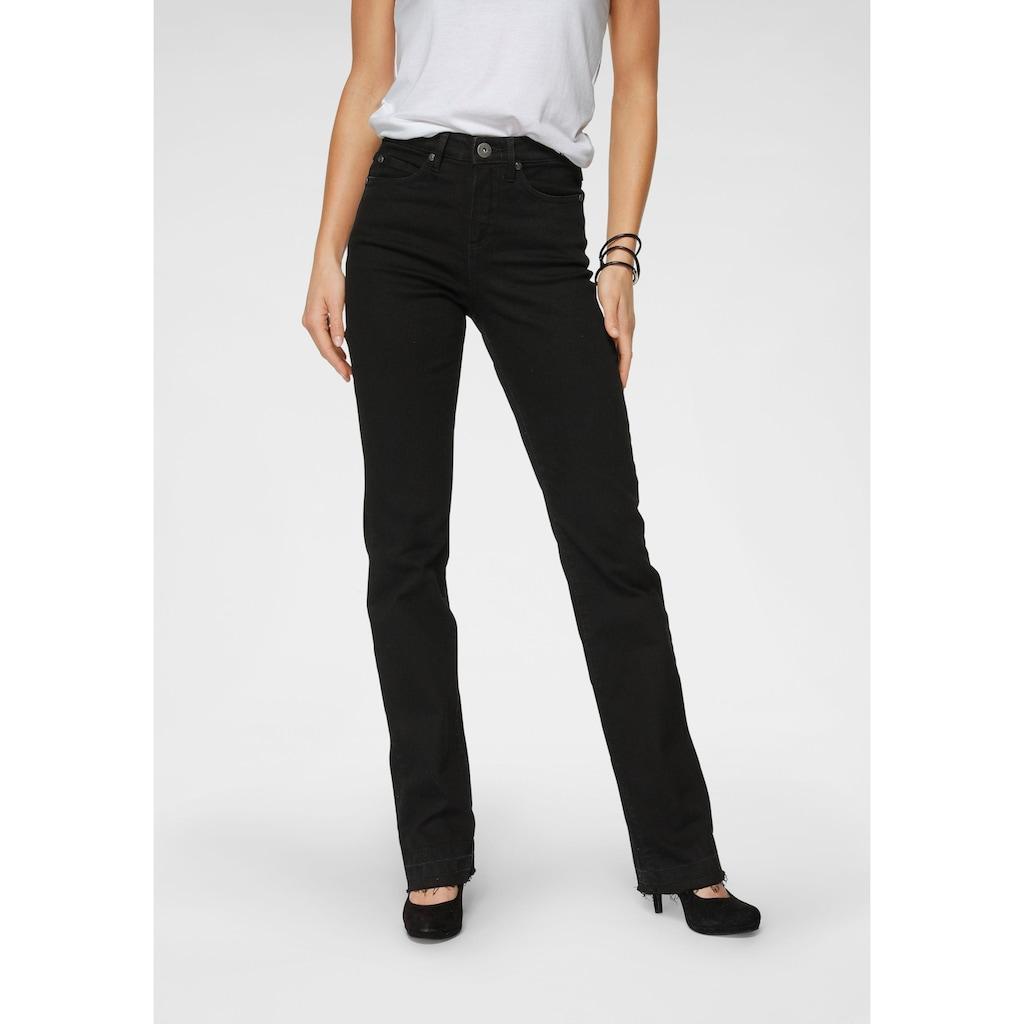Arizona Gerade Jeans »Comfort-Fit«, High Waist - mit Fransensaum