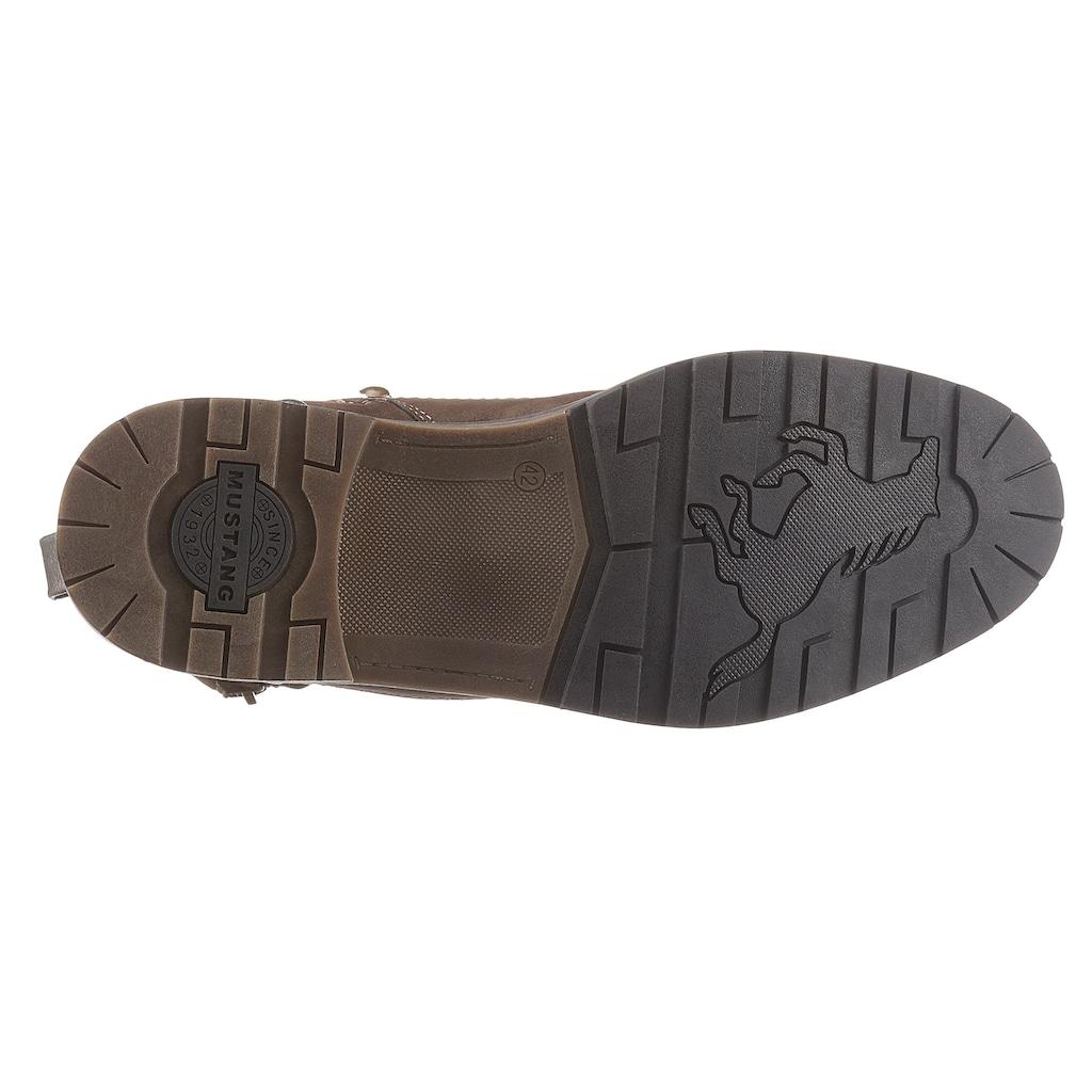 Mustang Shoes Schnürstiefel, mit Zier-Reissverschluss