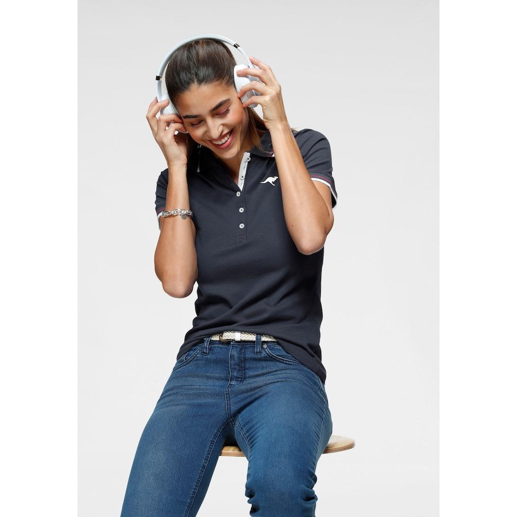 KangaROOS Poloshirt, mit kontrastfarbenem, gestreiftem Kragen und Ärmelbündchen