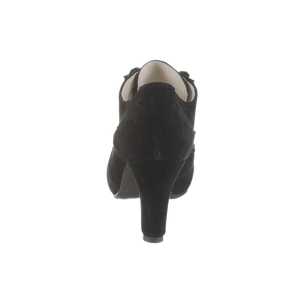 Hirschkogel Schnürpumps, mit Perforierung und Steppnähten