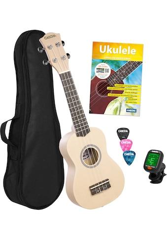 Cascha Ukulele »Sopran, Cream«, mit Tasche, Übungsheft, Plektren und Stimmgerät kaufen