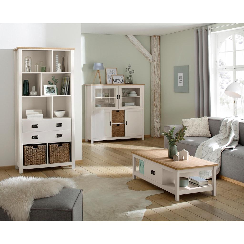 Home affaire Mehrzweckregal »Georgina«, mit 8 offenen Fächer, 2 Schubladen und 2 Körben, Höhe 194 cm
