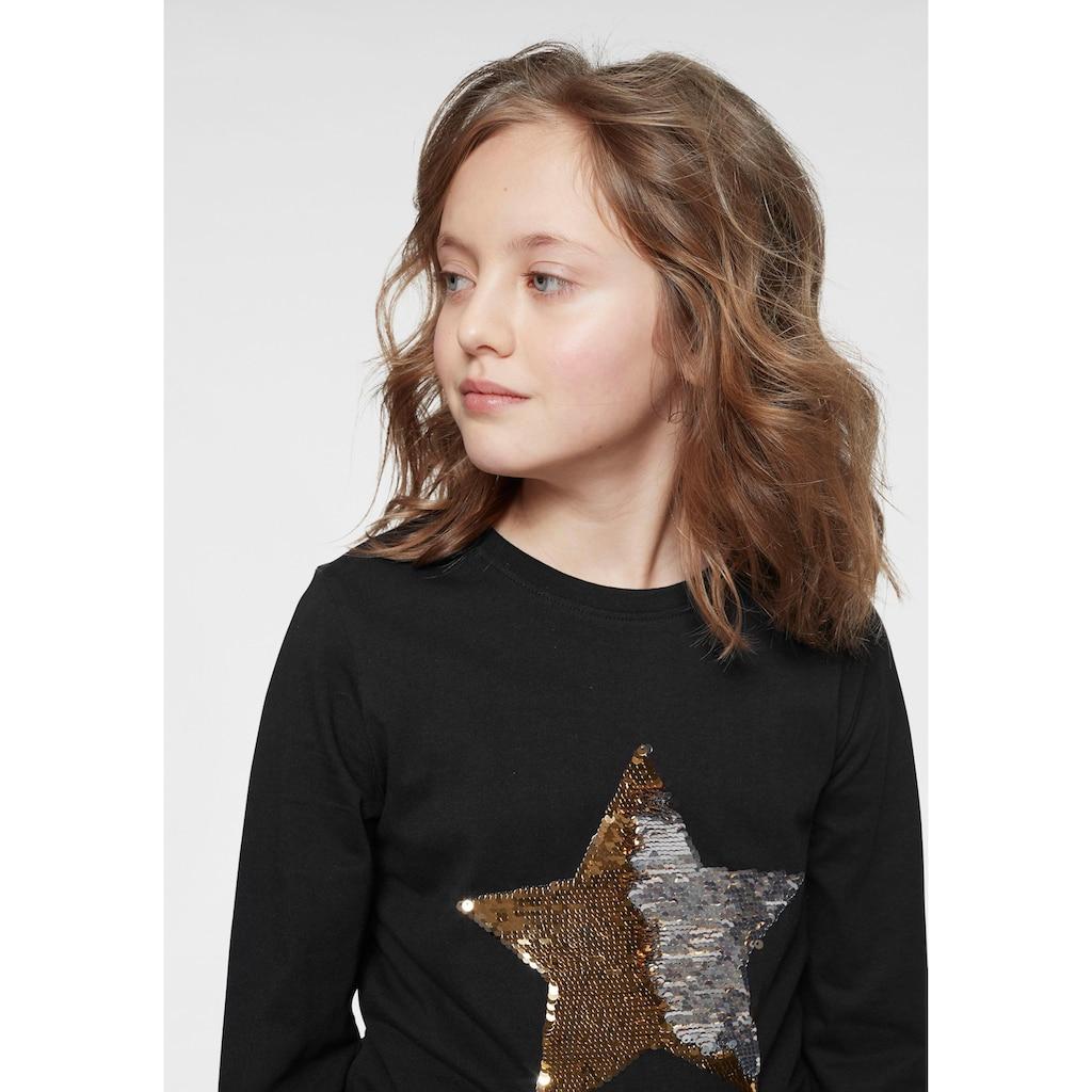 KIDSWORLD Langarmshirt »STERN«, mit Wendepailletten-Stern