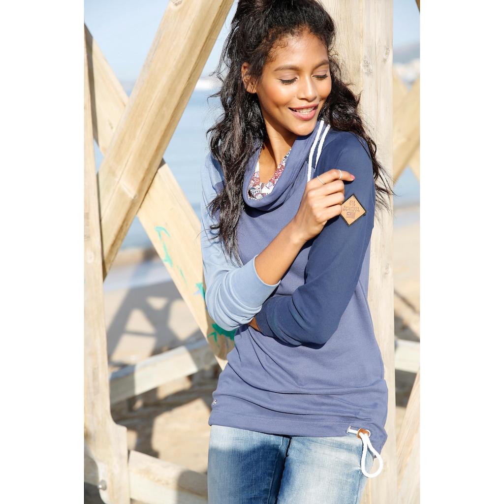 KangaROOS Longsweatshirt, mit bedrucktem Schalkragen
